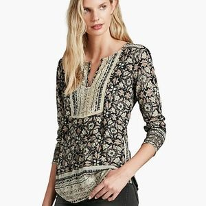 Lucky Brand Woodblock Floral Top